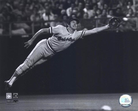 Brooks Robinson 1973 Diving Catch B Amp W Fine Art Print By