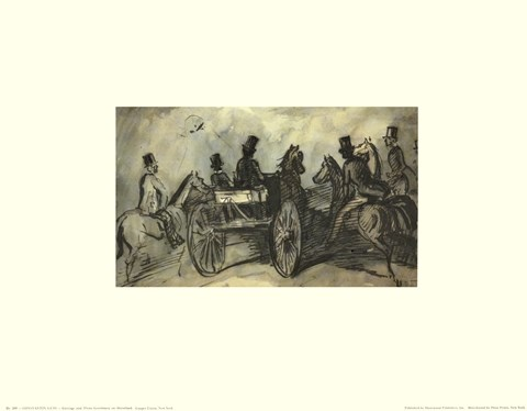 Framed Carriages and Horsemen Print