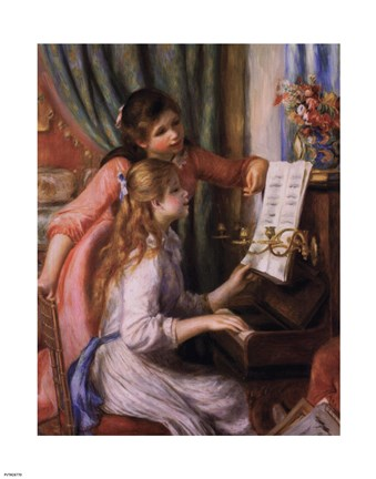 Framed Two Young Girls at the Piano Print