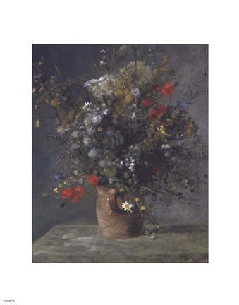 Framed Flowers in a Vase, c. 1866 Print