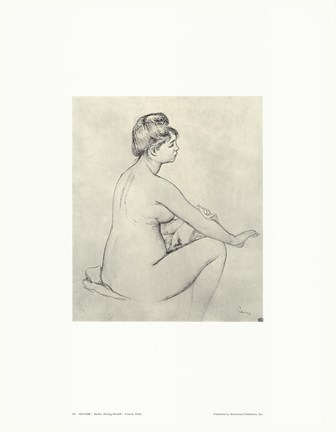 Framed Bather Drying Herself - drawing Print
