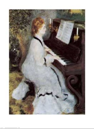 Framed Lady at the Piano Print