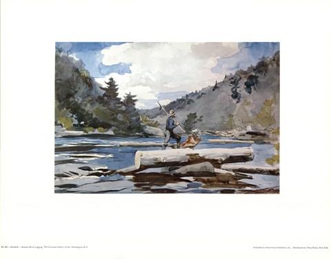 Hudson river logging fine art print by winslow homer at for Hudson log