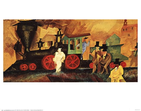 Lyonel Feininger - Old Locomotive Size 25x13