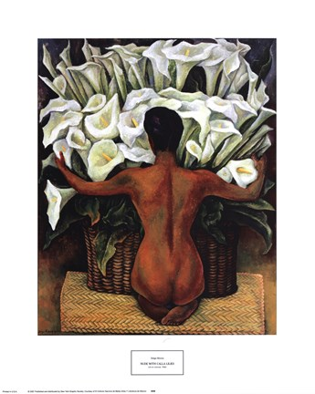 Framed Nude with Calla Lilies Print