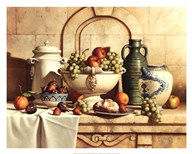 Italian Still Life with Green Grapes  Fine Art Print