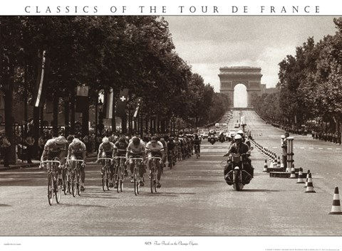 Framed 1975 Tour Finish On The Champs Elysees Print