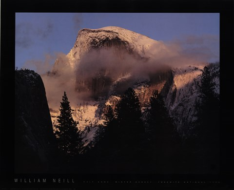 Framed Half Dome, Winter Sunset, Yosemite Print