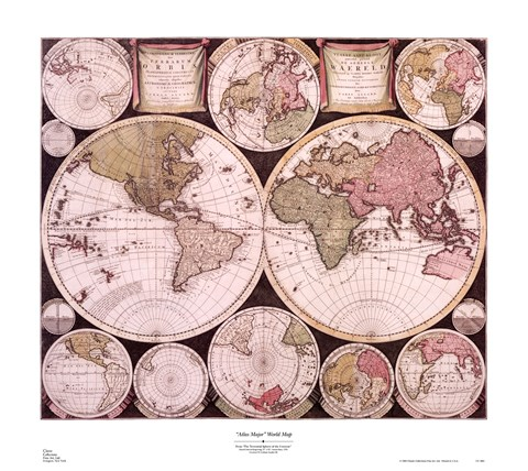 Framed Atlas Major World Map Print