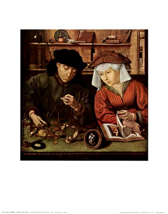 Framed Moneylender and His Wife Print