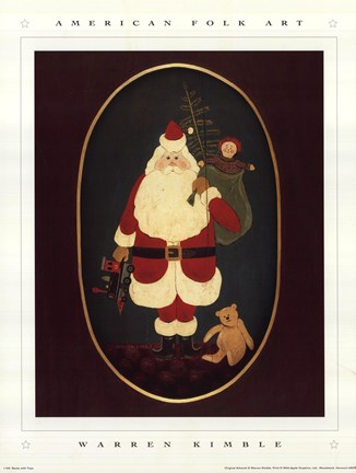 Framed Santa with Toys Print