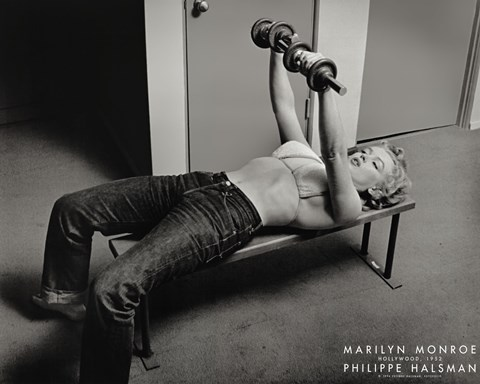 Framed Marilyn Monroe, Hollywood (with weights), c.1952 Print