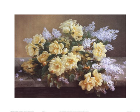 Framed Still Life of Yellow Roses with Lilacs Print
