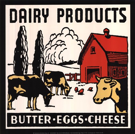 Framed Dairy Products-Butter, Eggs, Cheese Print