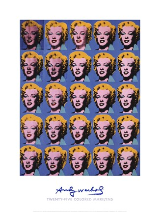 Framed Twenty-Five Colored Marilyns, 1962 Print