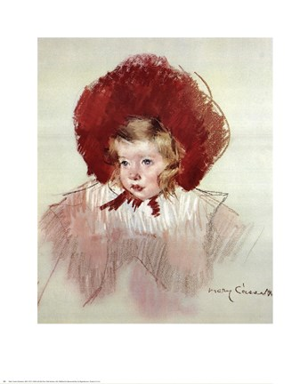 Framed Child with Red Hat Print