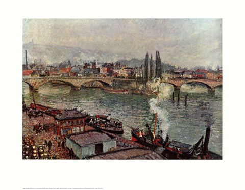 Framed Stone Bridge, Rouen Print