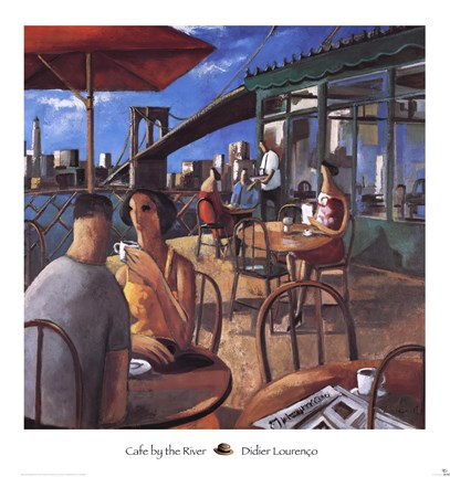 Framed Cafe by the River Print