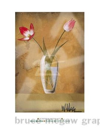Framed Floral Series Tulips IV (Red Tulips) Print