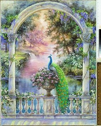 Garden Of Paradise Majestic Peacock Le Fine Art Print By