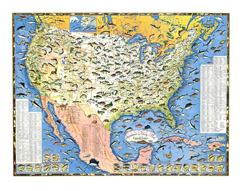 Framed Outdoor Life Sportsmen's Fish Map Print