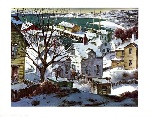 Framed Winter Harbor Print