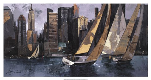 Framed Sailboats In Manhattan I Print