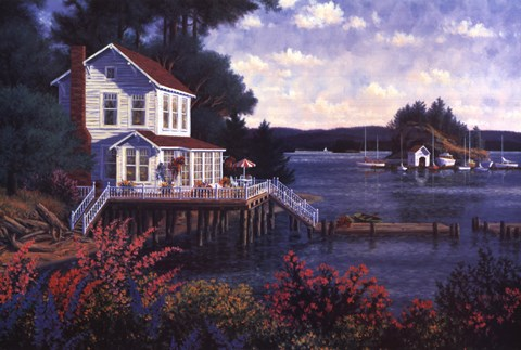 Framed Deer Harbor In Spring Print