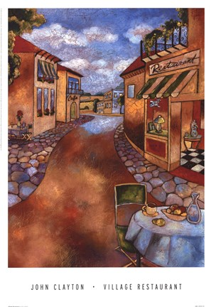 Framed Village Restaurant Print