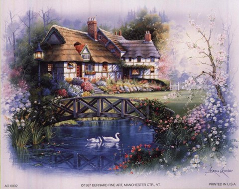 Coutnry Cottages Bridge Fine Art Print By Andres Orpinas
