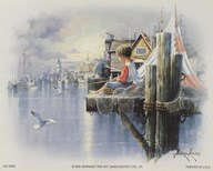Fishing Docks - seagull  Fine Art Print