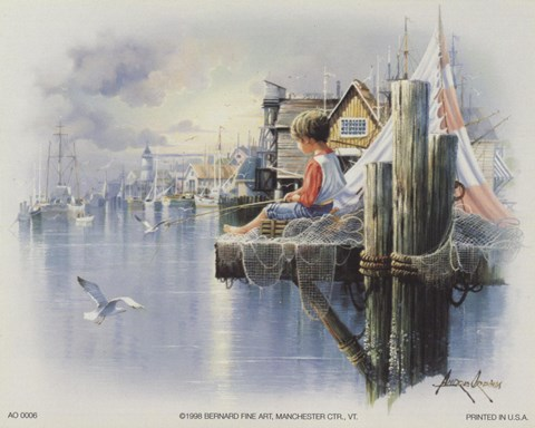 Fishing Docks Seagull Fine Art Print By Andres Orpinas