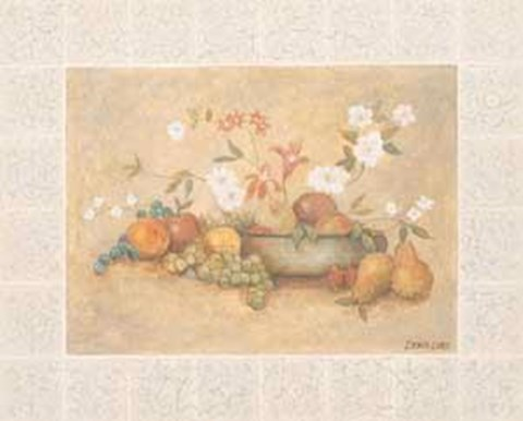 Framed Floral and Fruit Still Life Print