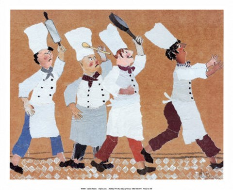 Framed Chefs with Frying Pan Print