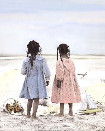 Framed Two Girls on Beach Print
