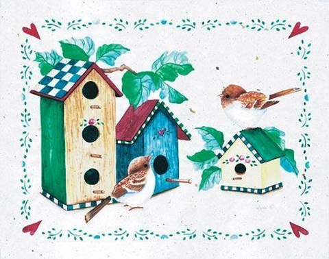 Framed Birds and Birdhouses 2 Print