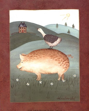 Framed Pig with Goose Print