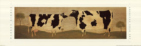 Framed Kissing Cows Print