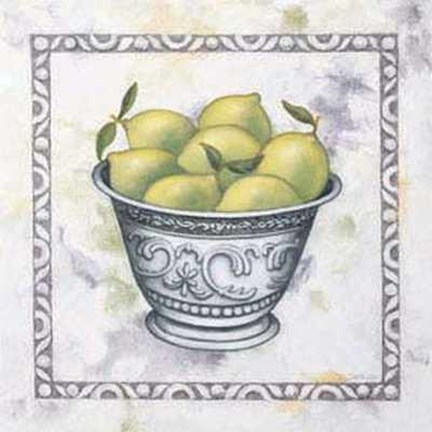 Framed Silver Bowl with Limes Print