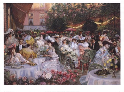 Framed Georges Jeanniot - Le Diner A' L'Hotel Ritz Print