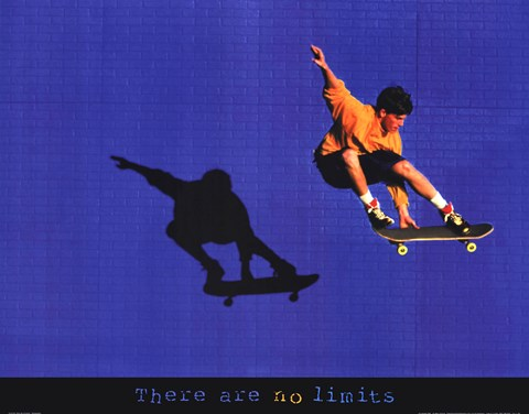 Framed There Are No Limits - Skateboarder Print
