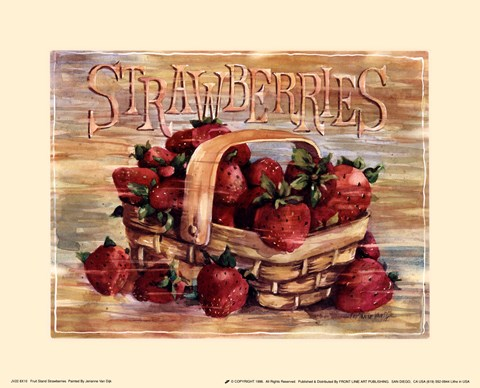 Framed Fruit Stand Strawberries Print