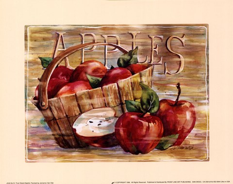 Framed Fruit Stand Apples Print