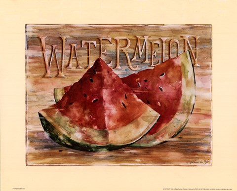 Framed Fruit Stand Watermelon Print