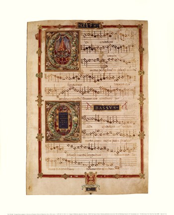 Framed Polyphonic Hymns Magnificats (Bass) Print