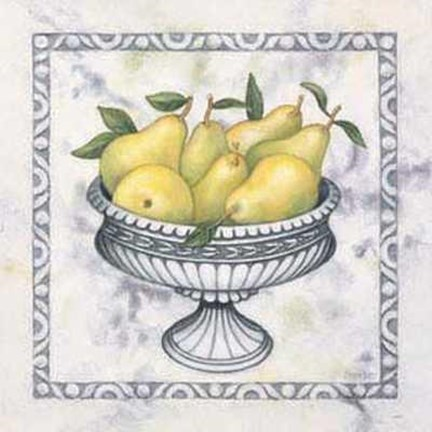 Framed Pears in Silver Bowl Print