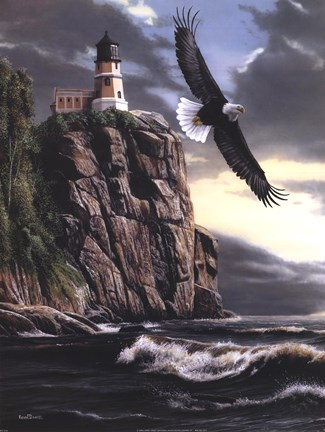 Eagle Over Lighthouse