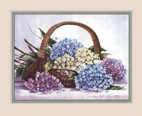 Hydrangea Arrangement Fine Art Print By Peggy Thatch