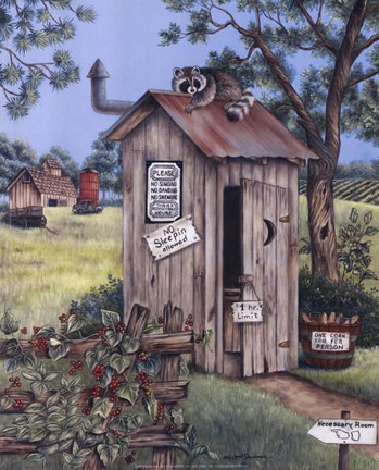 Framed Outhouse - Raccoon Print
