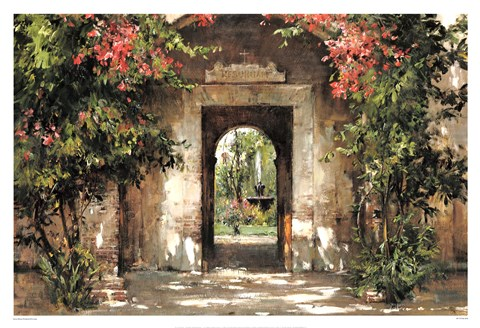 Framed Flowered Doorway Print